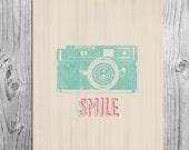 Smile | Instant Download | Fun Retro Inspirational Art | Whimsical Spring Home Decor | Mint Coral Beige | Camera Print