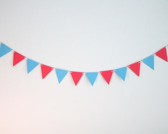 Blue and Red Paper Triangle Garland