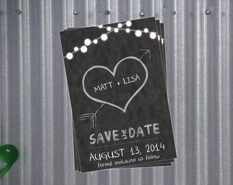 Custom Printable Save the Date - Blackboard or Chalkboard
