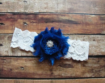 Garter, Bridal Garter, Ivory Lace Wedding Garter, Something Blue Crystal Garter, Blue Wedding,