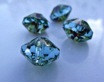 13x9mm Aqua Picasso Saucer Beads Czech Glass Pressed Glass Beads CZ-247 aqua blue beads, aqua rivoli beads, aqua saucers, xl saucer beads