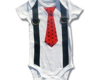 Tie Onesie Suspenders Toddler Tie - Ladybug
