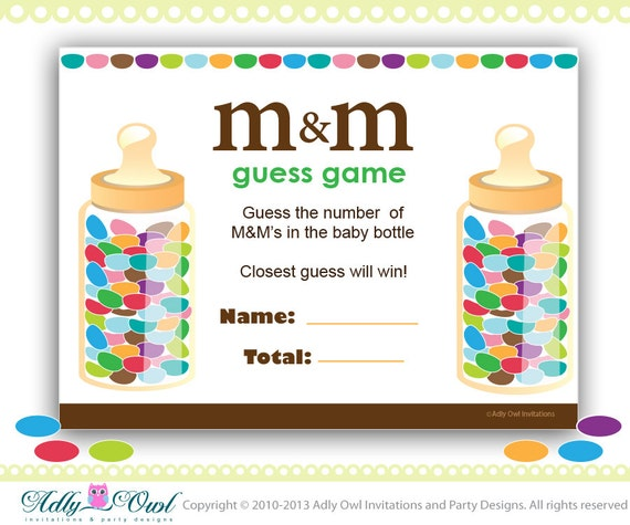 Games For A Baby Shower For A Boy: Items Similar To M & M's Baby Shower Game Printable, Fun