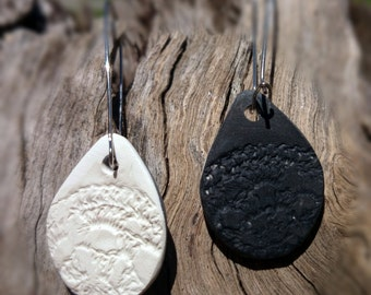Reversible Polymer Clay 'Doily' Earrings