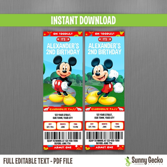 Mickey Mouse Clubhouse Custom Invitations for nice invitation sample