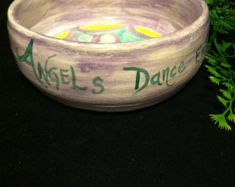 "Small Vintage Handmade Pottery Bowl ""Angels Dance Endlessly Among Happy Souls""  FREE US SHIPPING!"