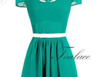 Vintage Inspired Emerald Crochet Dress