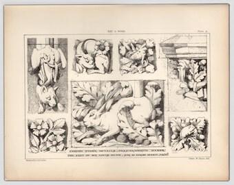 1885, Antique Print, Architectural Print, Carved Stone Details, Original Print