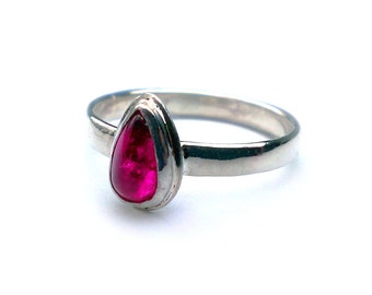 Bi-Color Watermelon Tourmaline Sterling Silver Ring, Gemstone, Fashion Ring, Gift Idea, Pear Shaped, Tear Drop, Hand Made Designer Jewelry