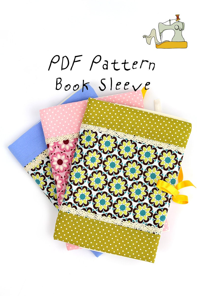 Book Cover Patterns Photo ~ Textile book sleeve cover pdf pattern and tutorial with