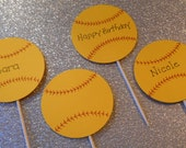 12 Softball Cupcake Toppers will Personalize for Free