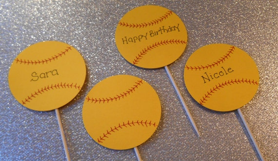 Items similar to 12 Softball Cupcake Toppers will ...