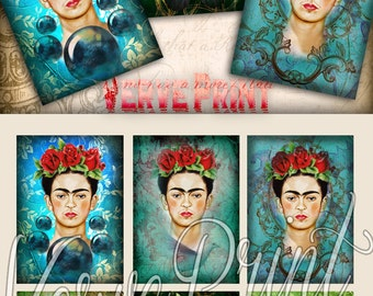 FRIDA KAHLO - Digital Collage Sheet Printable Download Gift tags Greeting cards Vintage Paper Craft