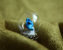 Cinderella ring - shoe in a glass bulb adjustable ring