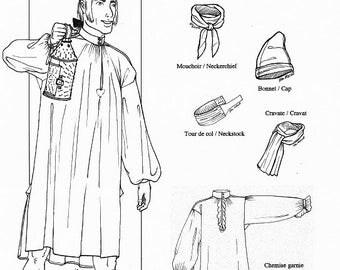 NFH18001 - Men's French Style Shirt Pattern - Mid-18th Century / Patron de chemise pour hommes, style français - Mi-18e siècle