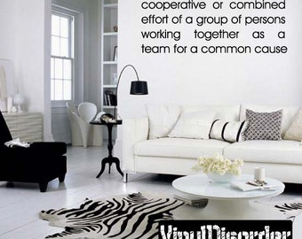 Team work noun cooperative or combined effort of a group of persons working - Vinyl Wall Decal - Wall Quotes - Vinyl Sticker - Dfb012ET