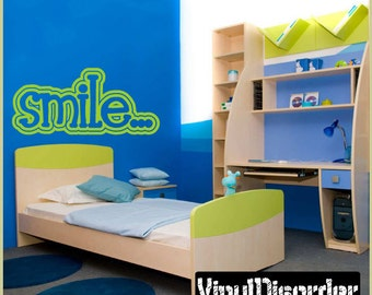 Smile- Vinyl Wall Decal - Wall Quotes - Vinyl Sticker - Hj006SmileviET