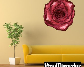 Floral Flower Wall Decal - Wall Fabric - Vinyl Decal - Removable and Reusable - FloralFlowerUScolor076ET