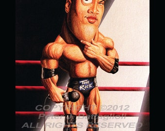 The Rock Dwayne Johnson Poster Caricature Art  Print