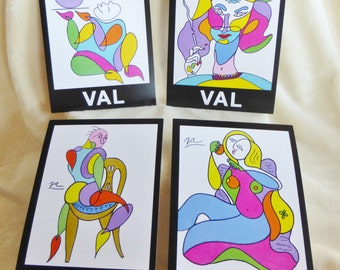Assortment of four art postcards, figurative abstract depictions of women and a man holding flowers in vibrant colors