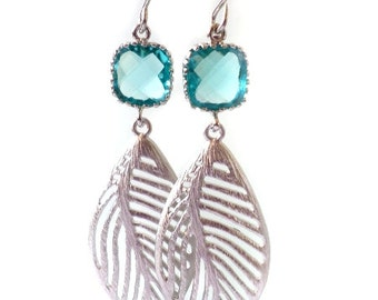 Leaf Earrings. Sapphire Blue Earrings. Blue Dangles. Blue Chandeliers. Blue Crystal Chandeliers. Pacific Blue Earrings. Bridal, Bridesmaids.