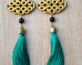 Moscow green Peacock earrings