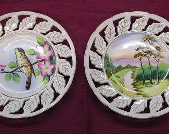 2 vintage porcelain plates, landscape and bird, openworked rims for ribbon