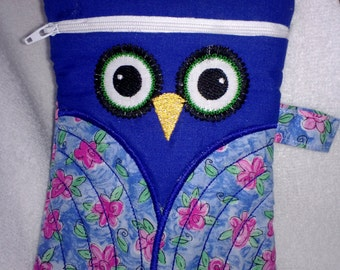 OWL Embroidered Zipper Bag