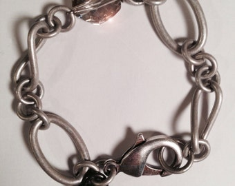 Silver Chunky Link Bracelet with Crystal and Heart Locket