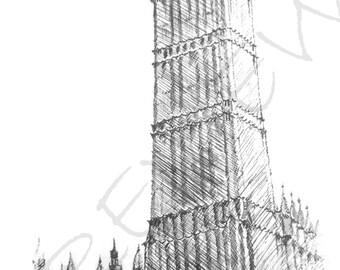 Big Ben Drawing in Pen and Ink; Digital Download