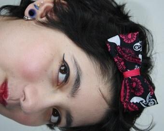 Colorful Pink Dia De Los Muertos Bandana Bow Hair Clip