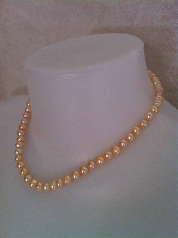 Peach Color Genuine Freshwater Pearl Necklace. Bridal