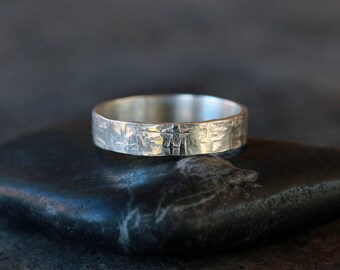 viking ring sterling silver mens wedding band hammered pattern ring rugged style for - Viking Wedding Rings