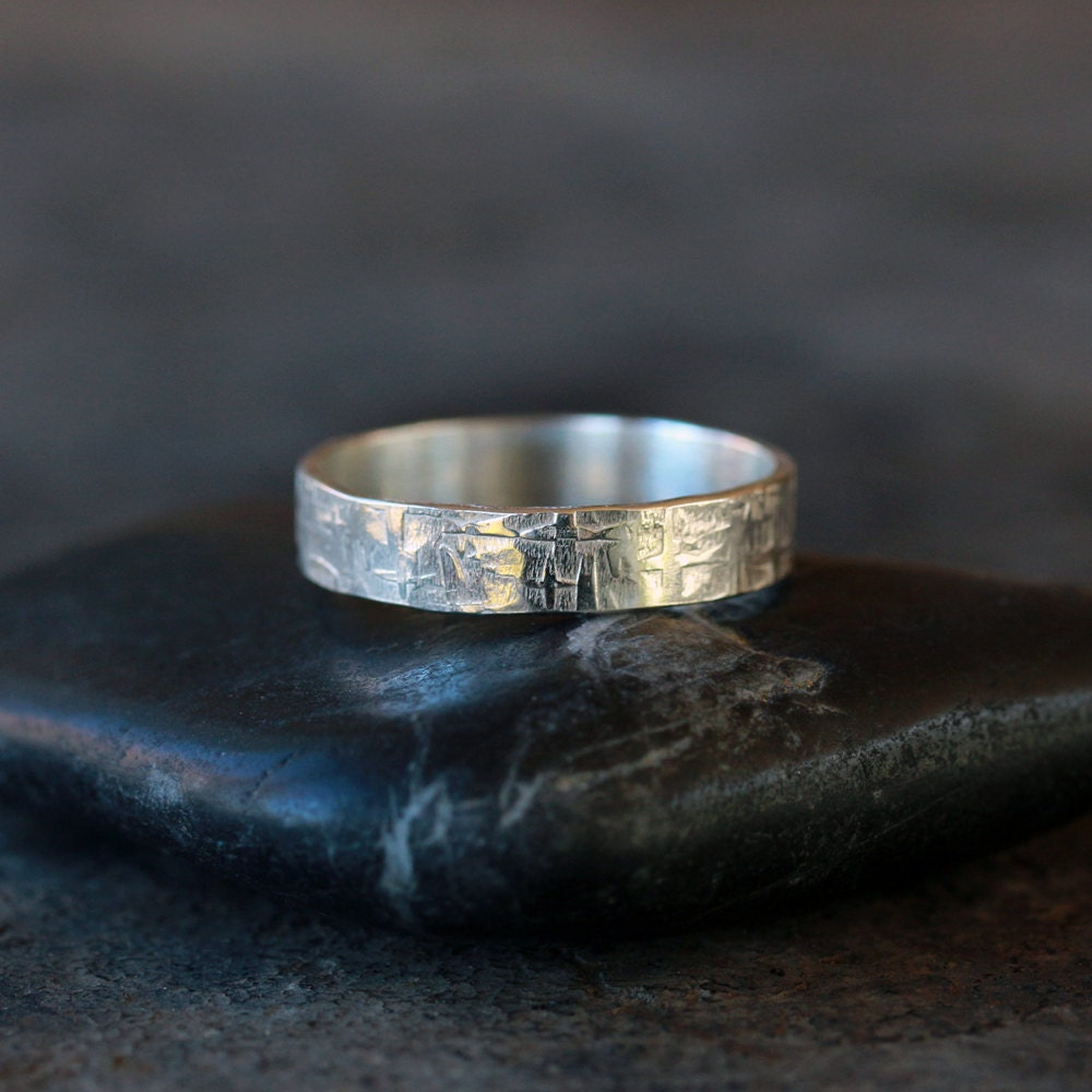 Viking Ring Sterling Silver Men S Wedding Band Hammered