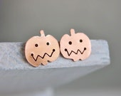 Pumpkin earrings, pumpkin spice jack-o-lantern Halloween jewelry, small earrings orange copper sterling silver posts