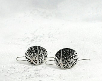 Nature inspired earrings. Jewelry made in Canada. Classic simple silver earrings. Gift for her.
