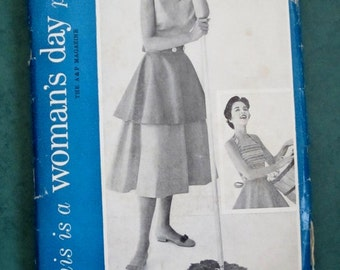 WOMAN'S DAY PATTERN 5066 Wrap Halter Bust 36 Rare 1950s Four Button-Together Separates Wrap Blouse, Wrap Halter, Wrap Skirt and Apron