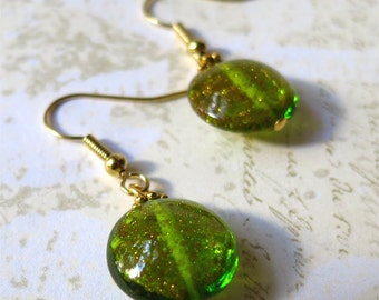 Earrings venetian glass green gold sparkle