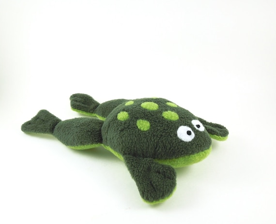 Fat Frog Handmade Stuffed Animal in Forest Green Childrens Plush Frog