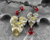 Bloody Steampunk Leaves Necklace - Blood Drops On the Leaves of Time by COGnitive Creations