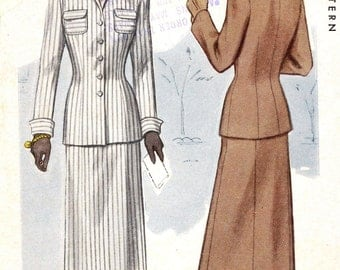 1940s womens suit Vintage sewing pattern McCalls 7609 Jacket and slim skirt UNCUT Bust 36