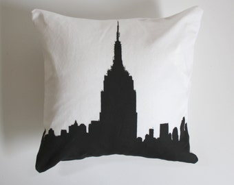 SALE - Empire State Building Pillow - New York City Skyline Pillow - Yellow and White Throw Pillow - City Throw Pillow