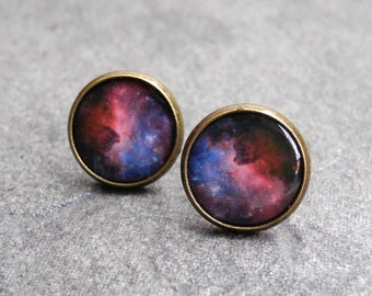Nebula Galaxy Earrings,Space Stud Earrings,Astronomy Jewelry,Pink Blue Studs,NASA Jewelry,Lunar Constelation Jewelry,Astronomy Gifts (E181)