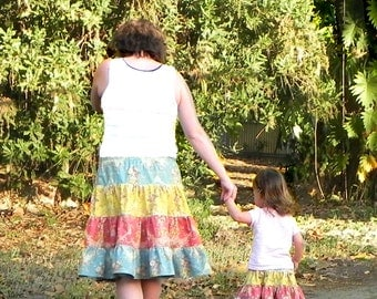 Skirt Pattern for mommy and me 4-tiered Skirts for 3m through 16 Ladies PDF Instant