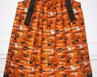 Pillowcase Dress with Pumpkins Halloween Dress with Spiders baby dress with candy corn toddler dress with ghost Black Cats orange and black