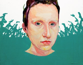 Jet City Woooman - original portrait oil painting on canvas