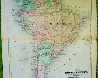 SOUTH AMERICA Antique Map 1890s - PATAGONIA and Other Countries