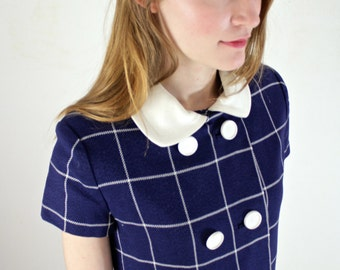Sailor Dress • Nautical Dress • 1960s Dress • Peter Pan Collar Dress • Vintage Sailor Dress • 60s Wool Dress • 1960s Day Dress • Mod Dress
