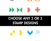 Choose Any 2 or 3 Mini Geometric Shapes Rubber Stamps (Wood Mounted) Original Abstract Designs for Scrapbooking or Favors, Mini Duos