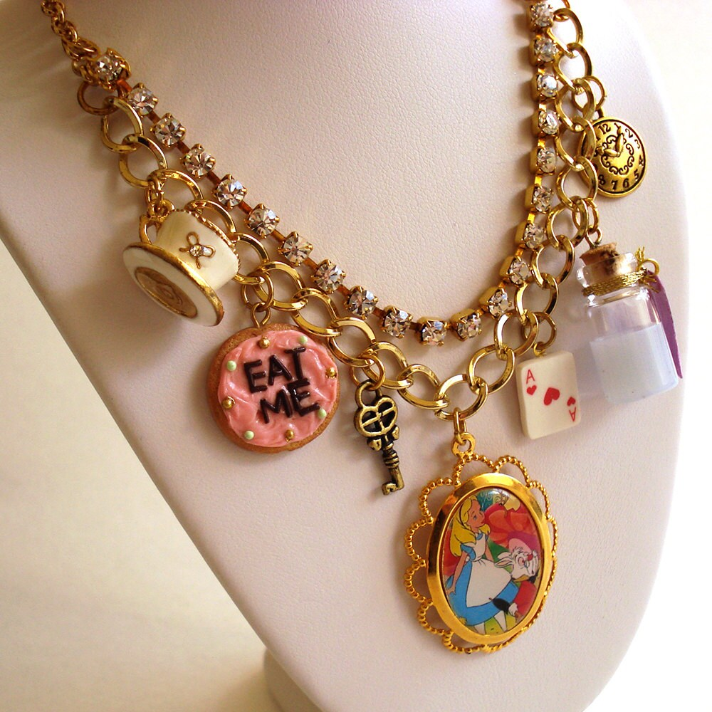 alice in wonderland necklace alice charm necklace alice in